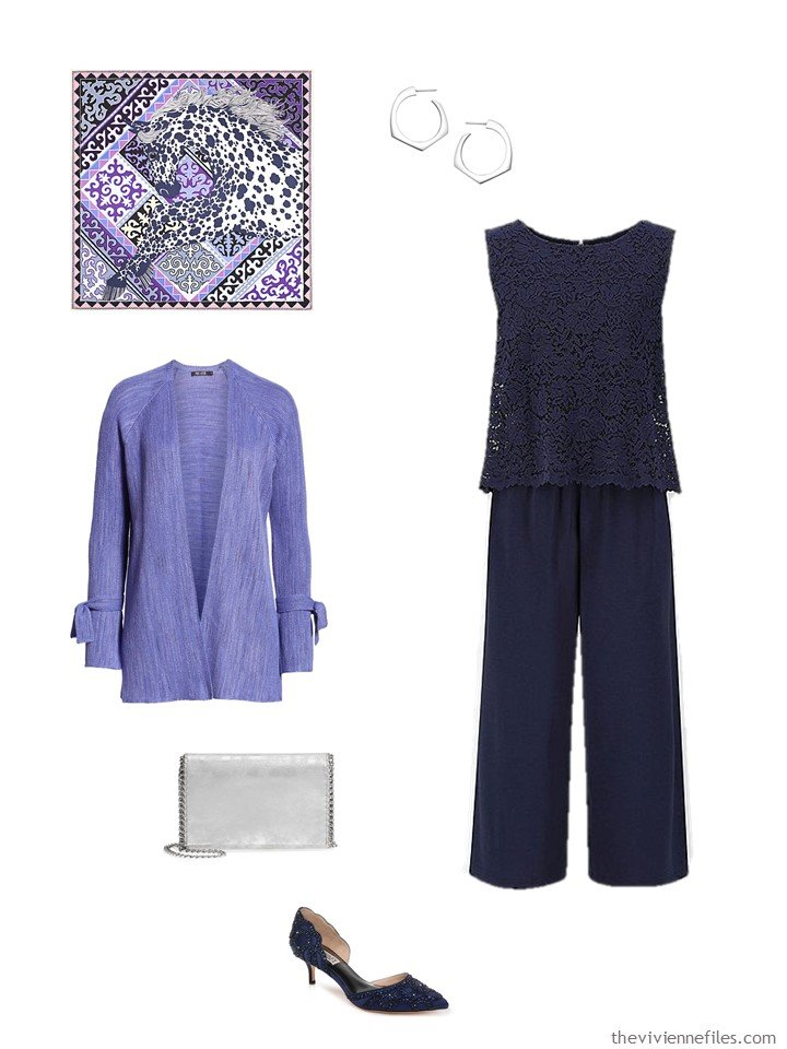 5. navy jumpsuit with purple cardigan