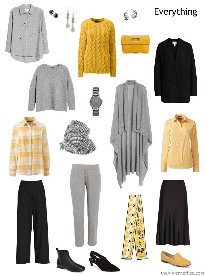 5. travel capsule wardrobe in black, grey and yellow