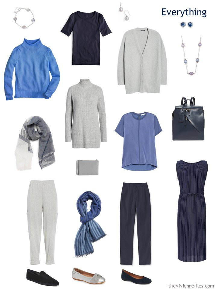 5. travel capsule wardrobe in navy, grey and blue