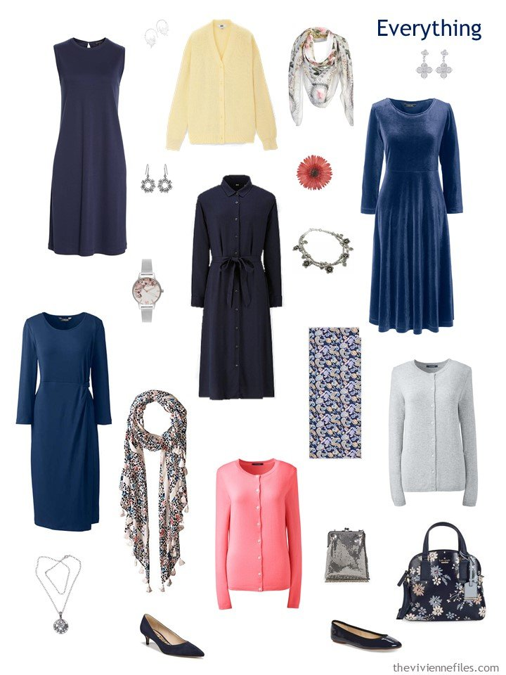 5. travel capsule wardrobe in navy, pink, yellow and grey