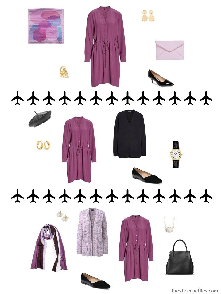 6. 3 ways to wear a berry dress from a travel capsule wardrobe