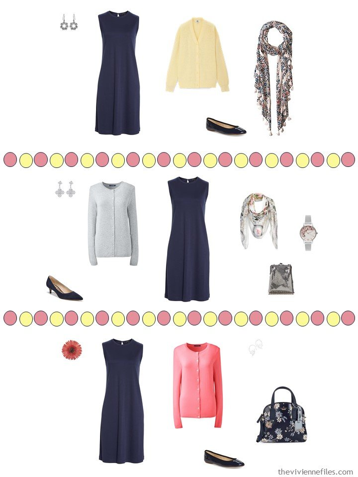 6. 3 ways to wear a navy dress from a capsule travel wardrobe