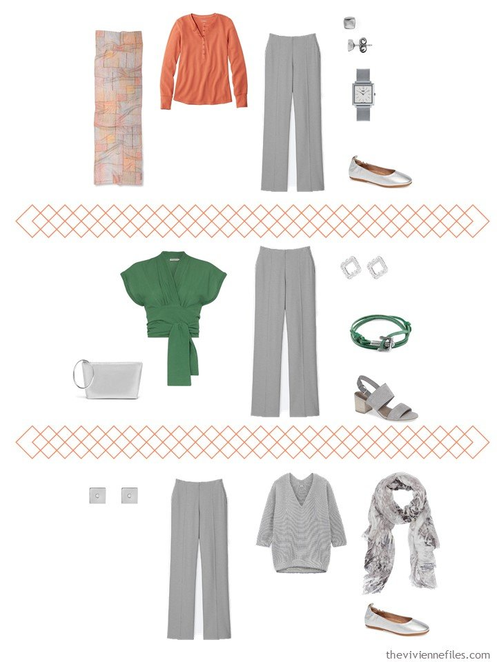 6. 3 ways to wear grey pants from a travel capsule wardrobe