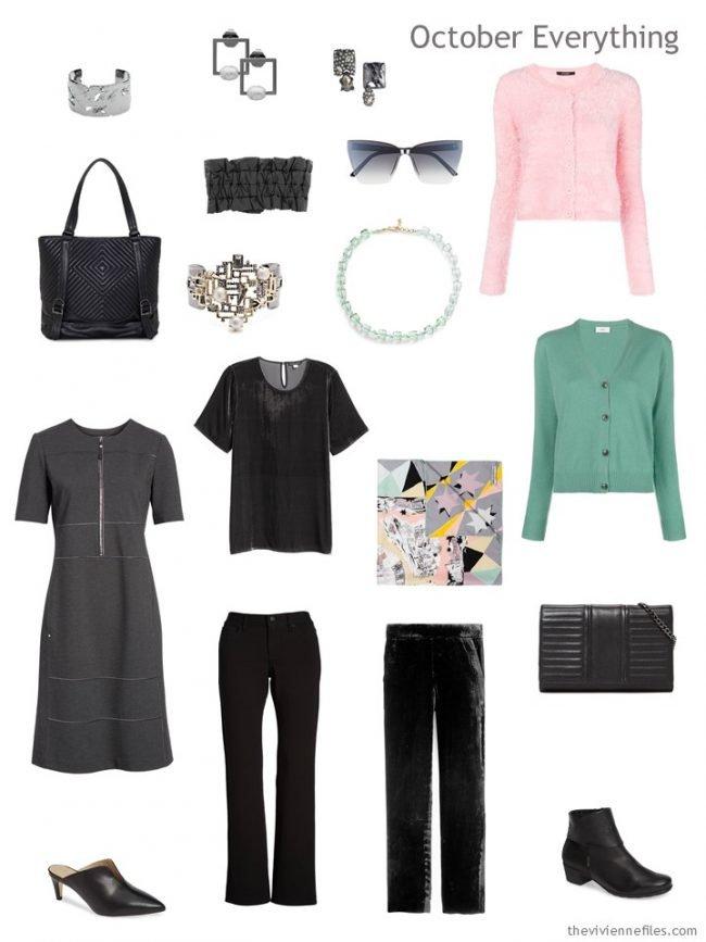 6. October travel capsule wardrobe in black, grey, pink and green