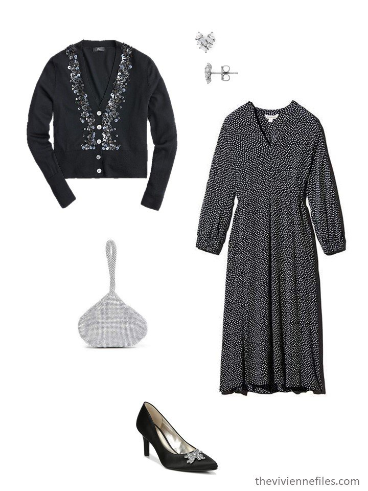 6. black print dress with black embellished cardigan and black jeweled pumps