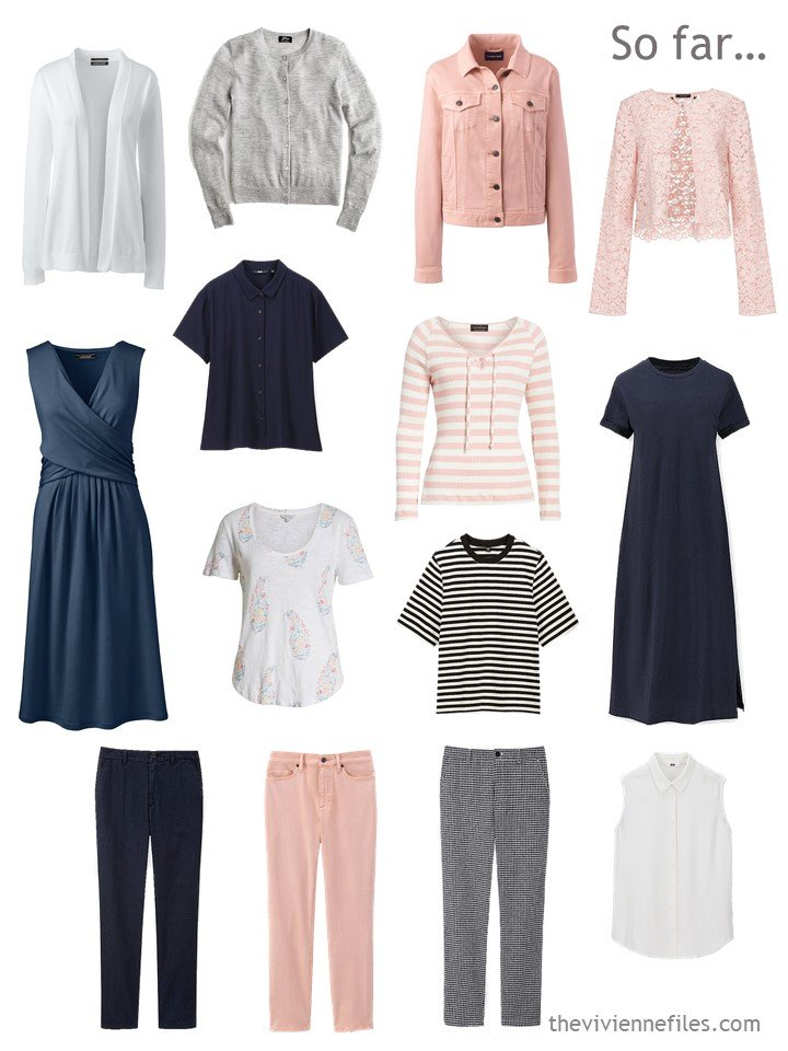 6. incomplete travel wardrobe in navy, grey, blush and white