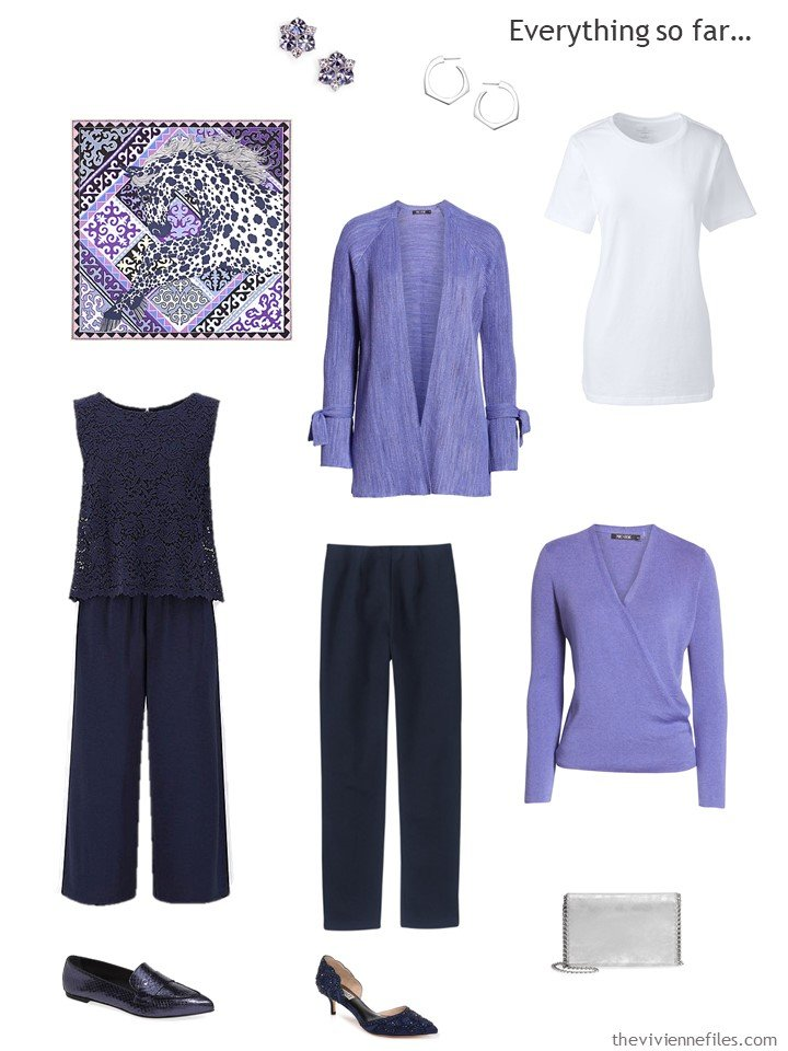 6. travel capsule wardrobe in navy, purple and white