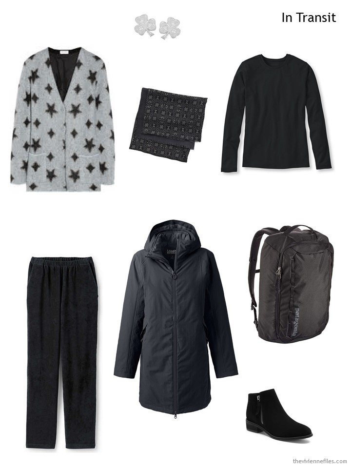 6. travel outfit for cold weather, in grey and black