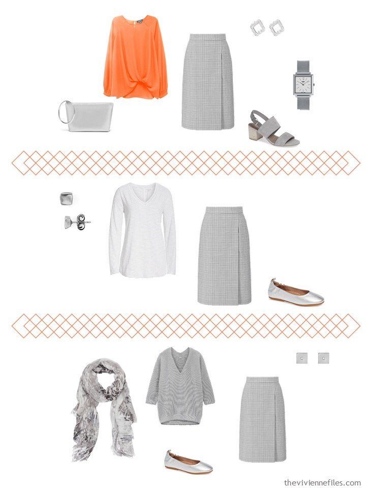 7. 3 ways to wear a grey skirt from a travel capsule wardrobe