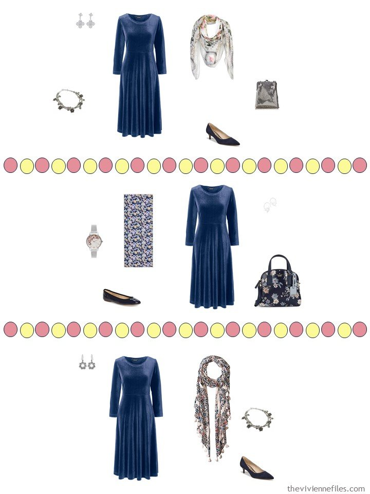 7. 3 ways to wear a navy dress from a travel capsule wardrobe