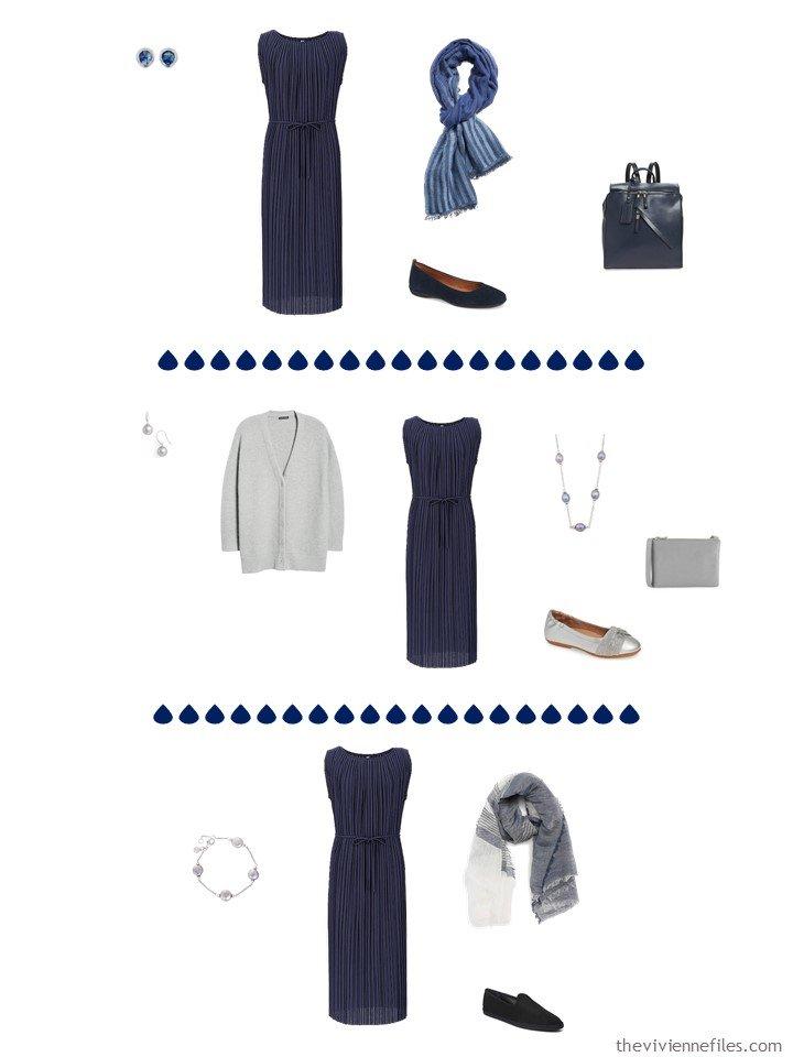 7. 3 ways to wear a navy dress in a capsule wardrobe