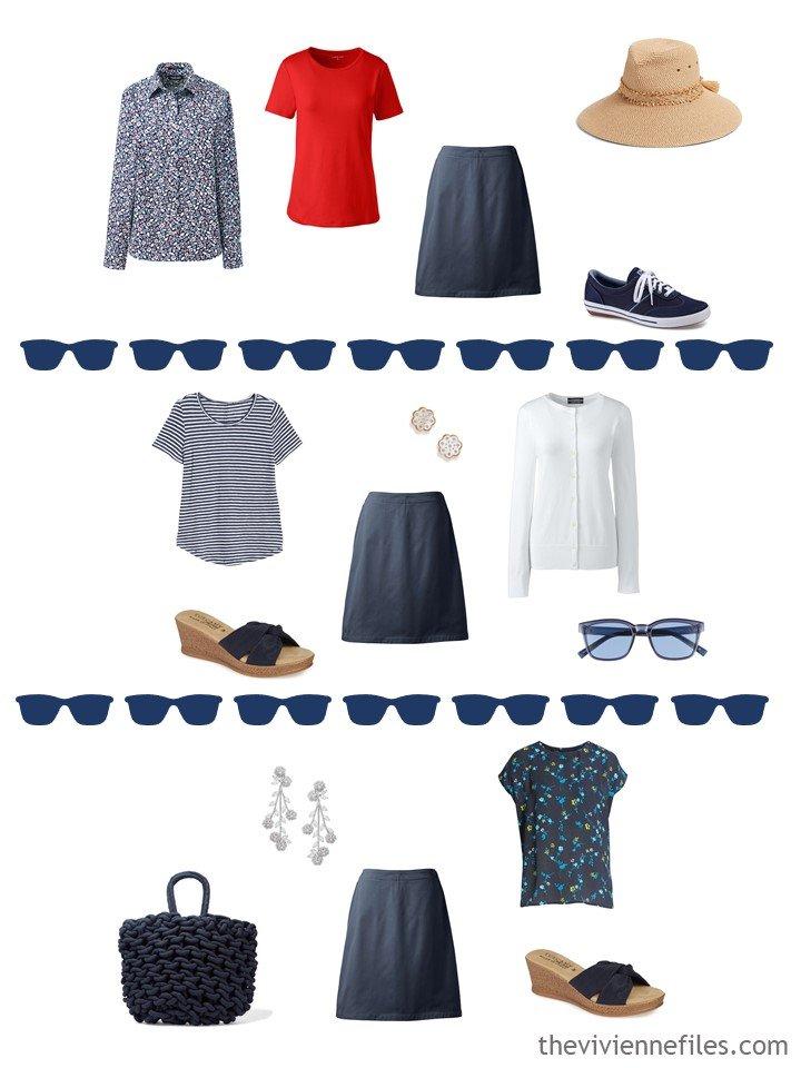 7. 3 ways to wear a navy skirt in warm weather