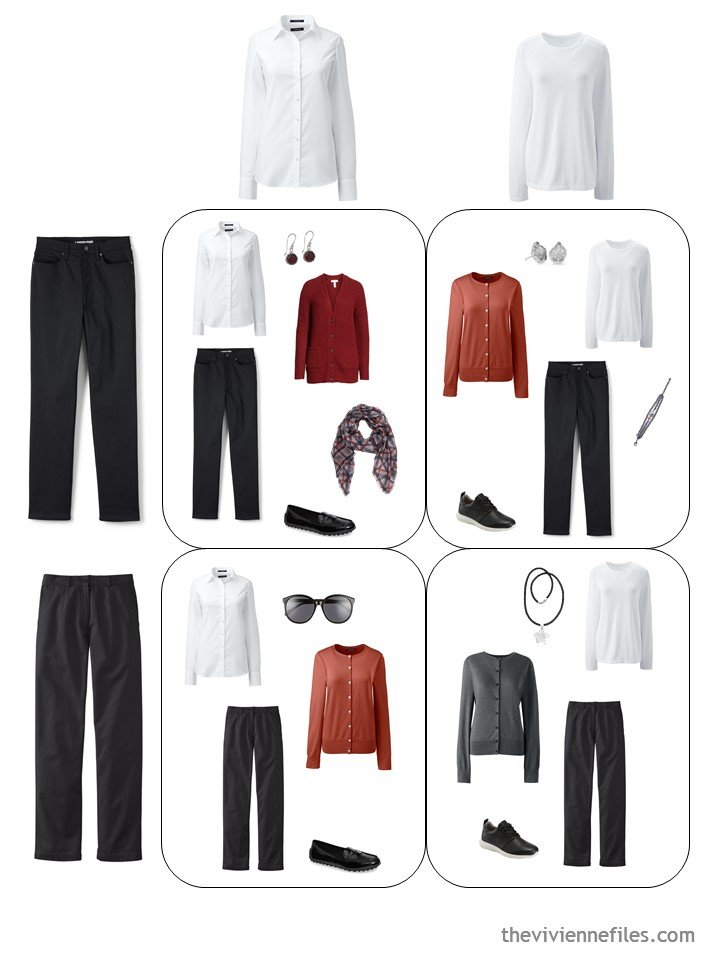 7. 4 outfits from a travel capsule wardrobe in black, white, grey and russett