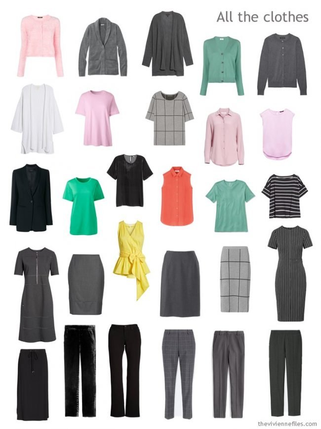 7. capsule wardrobe in black, grey, pink, green, orange, yellow and white