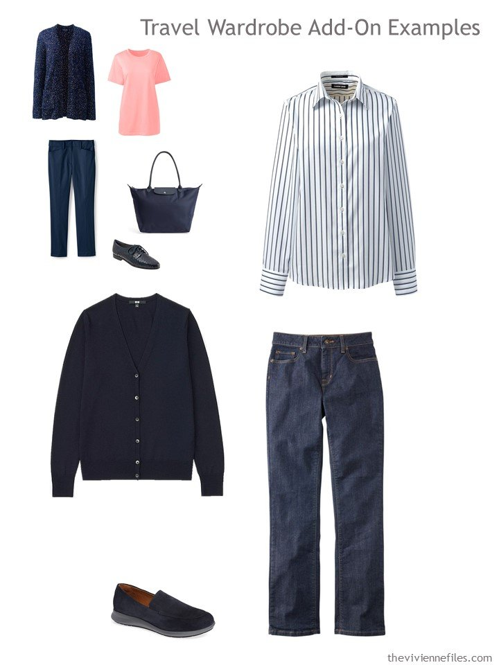7. navy and white outfit for travel capsule wardrobe