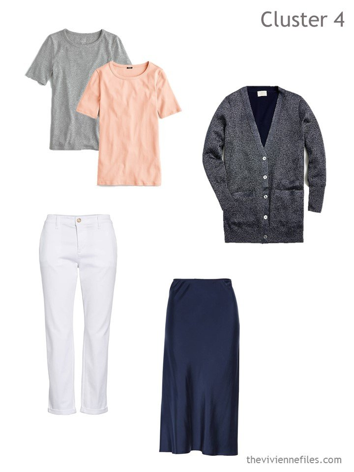 7. navy skirt and white pants spring travel cluster