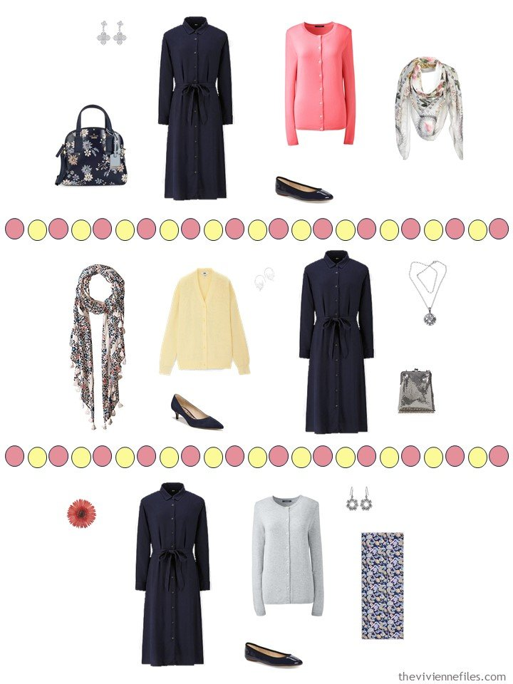 8. 3 ways to wear a navy dress from a travel capsule wardrobe