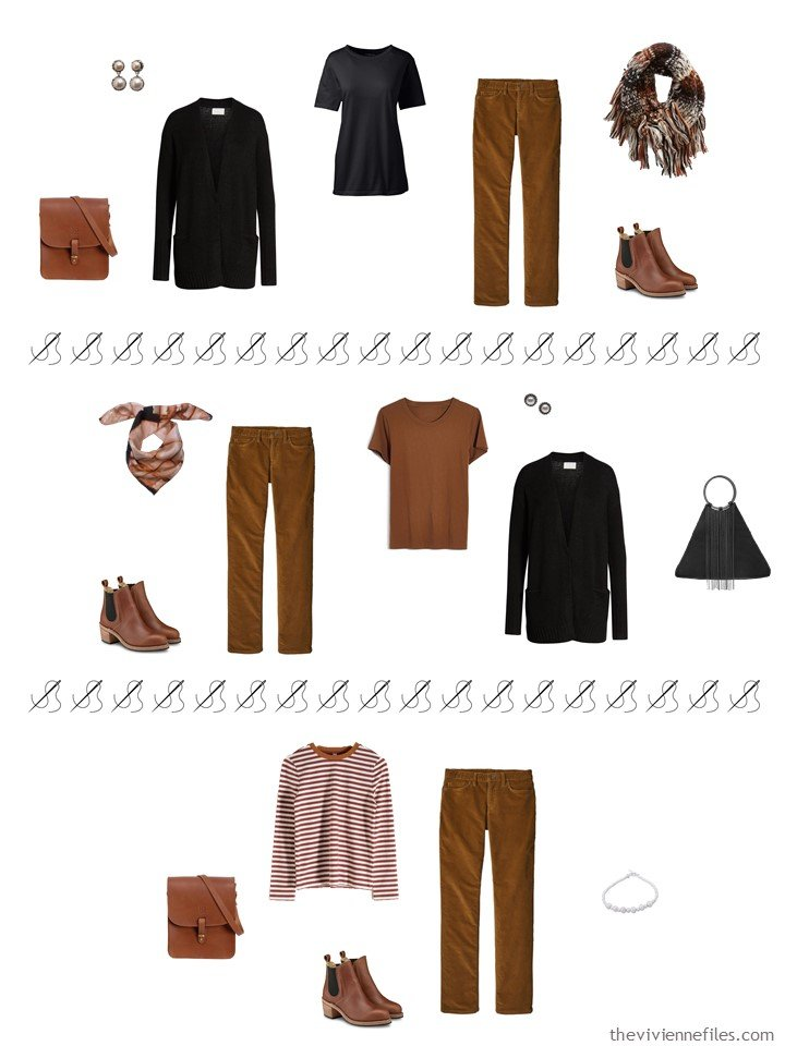 8. 3 ways to wear brown pants from a travel capsule wardrobe