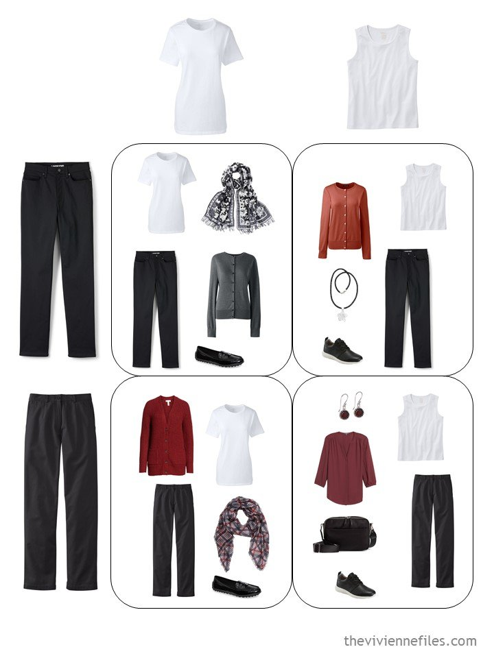 8. 4 outfits from a travel capsule wardrobe in black, white, grey, red and russet