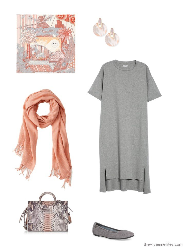 8. grey dress with apricot accessories