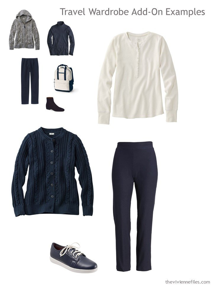 8. navy and beige outfit for travel capsule wardrobe