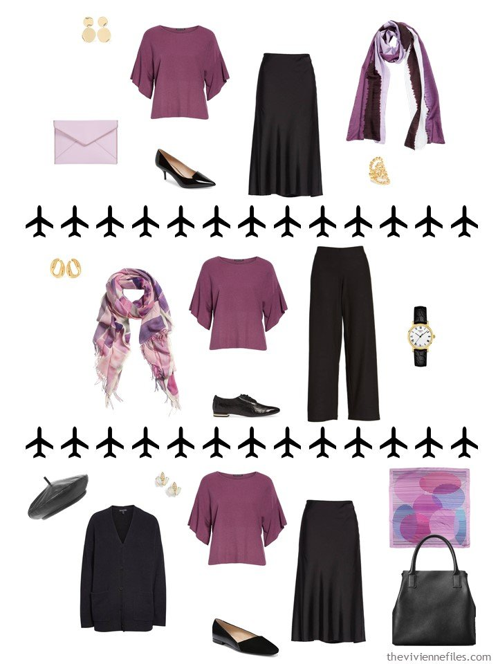 9. 3 ways to wear a berry top from a travel capsule wardrobe