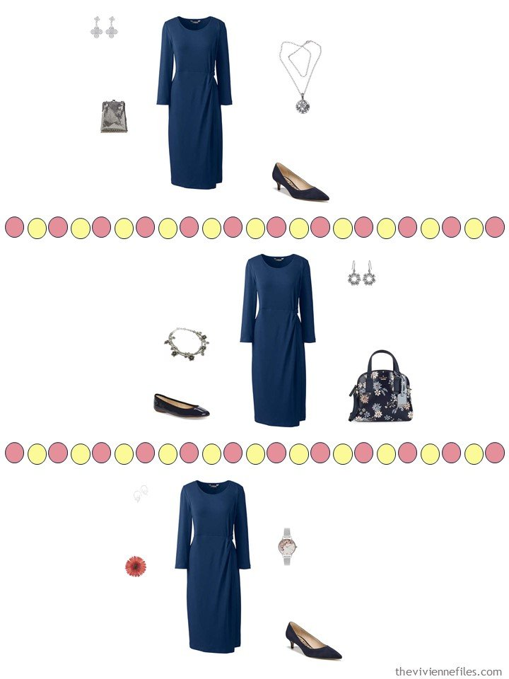 9. 3 ways to wear a navy dress from a travel capsule wardrobe
