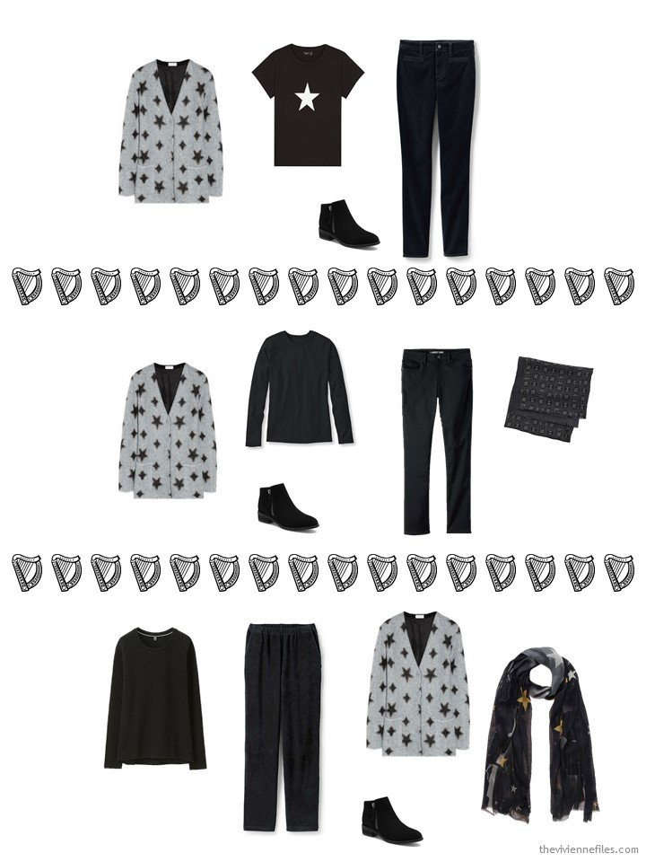 9. 3 ways to wear a star cardigan from a travel capsule wardrobe