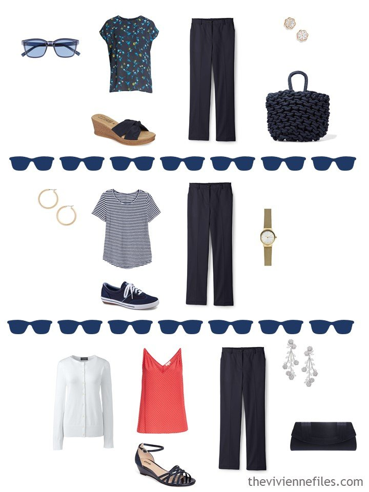 9. 3 ways to wear navy pants in warm weather from a travel capsule wardrobe