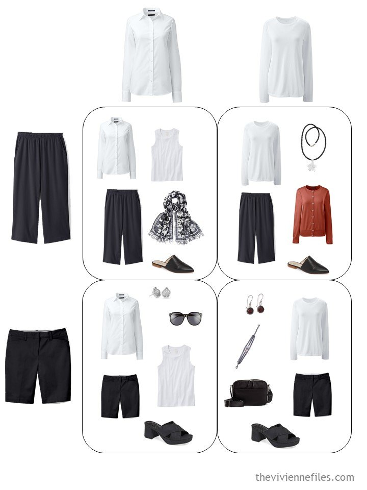 9. 4 outfits from a travel capsule wardrobe in black, white, red and grey