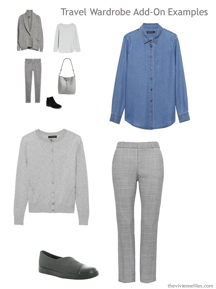 9. grey and chambray outfit for travel capsule wardrobe