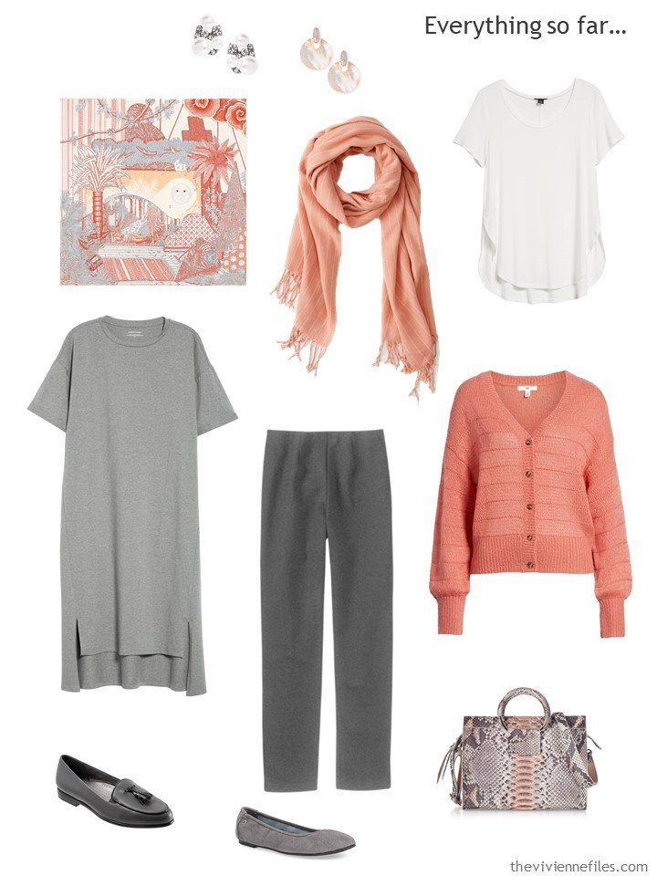 9. travel capsule wardrobe in grey, apricot and white