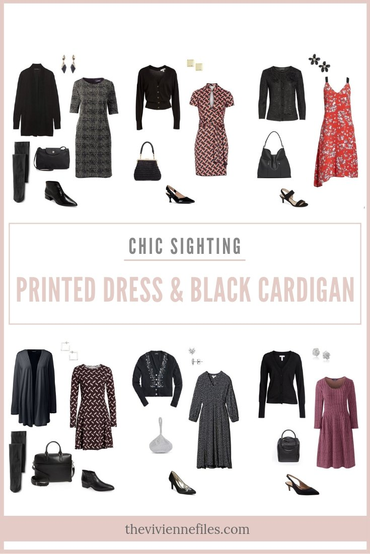 CHIC SIGHTING: PRINTED DRESS AND BLACK CARDIGAN