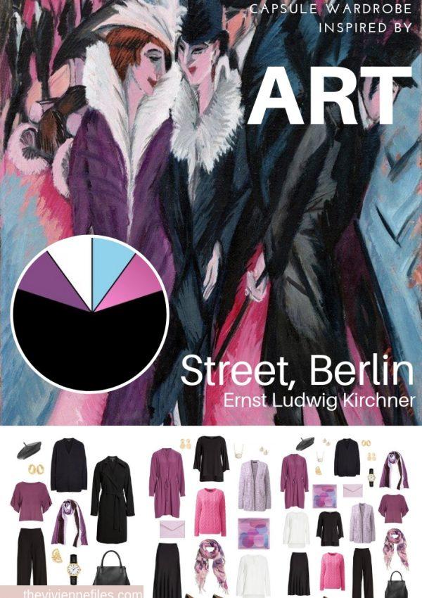 Travel capsule wardrobe in black and purple based on art - winter travel street art berlin