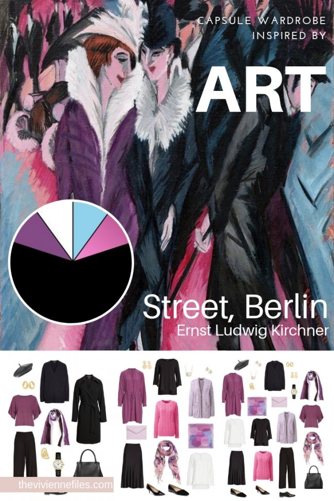 Travel capsule wardrobe in black and purple based on art - winter travel street art berlin