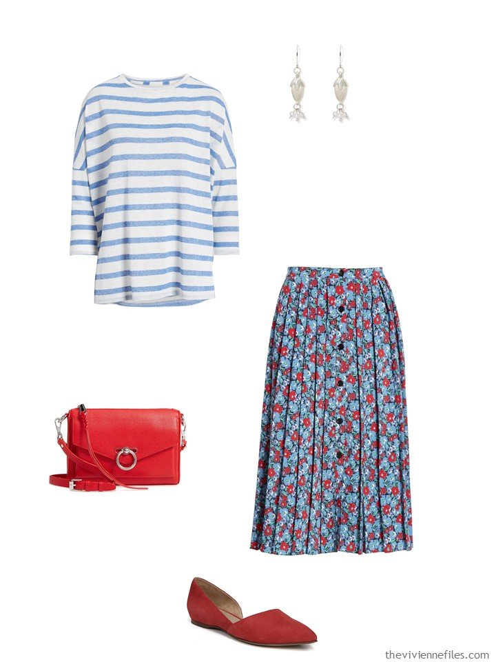 1. blue and white stripes and flowers outfit