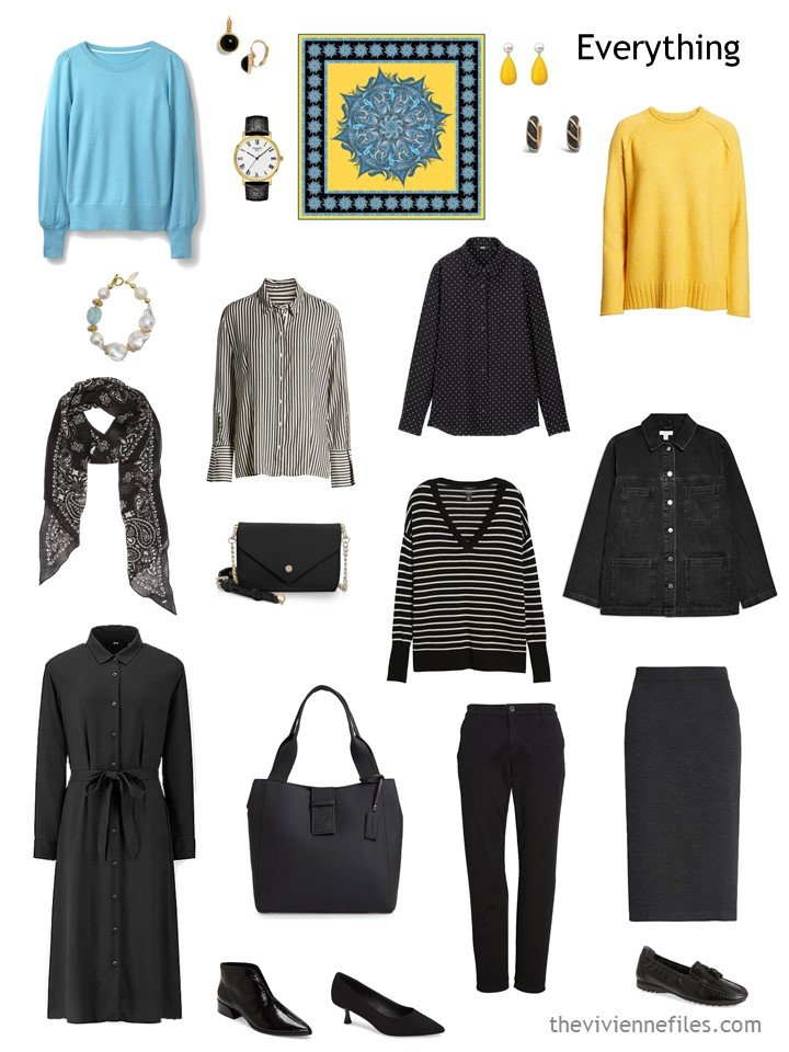 1. travel capsule wardrobe in black, white, turquoise and yellow