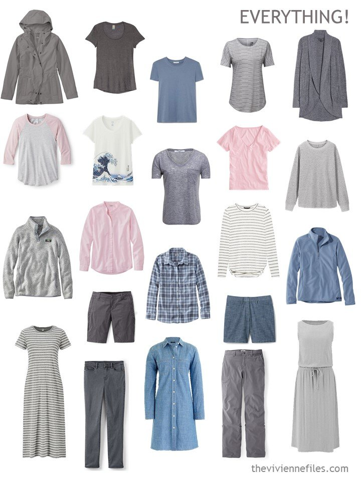 10. 22 piece travel capsule wardrobe in grey, blue and pink