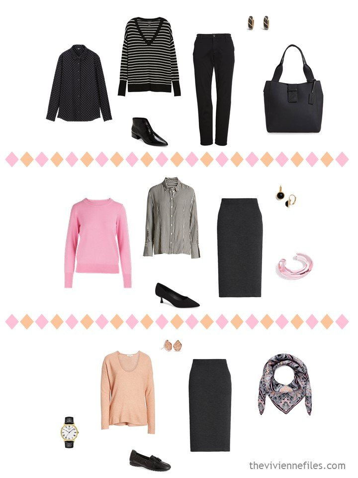 10. 3 outfits from a travel capsule wardrobe in black, white, pink and apricot