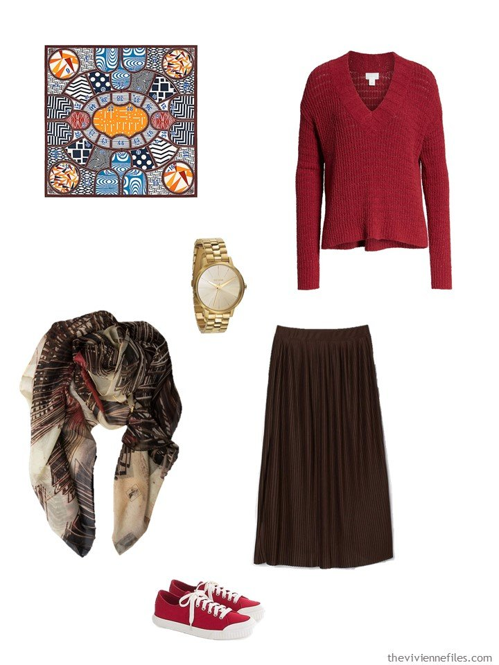 10. brown and red skirt outfit