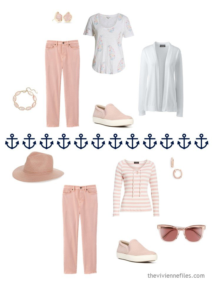 11. 2 ways to wear blush jeans from a travel capsule wardrobe