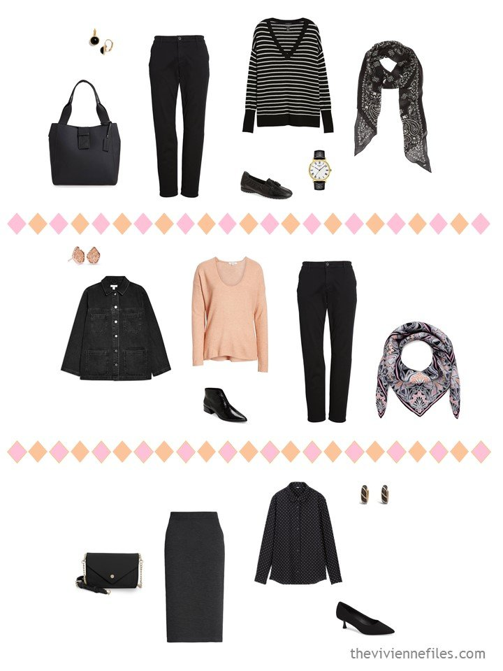 11. 3 outfits from a travel capsule wardrobe in black, white, pink and apricot