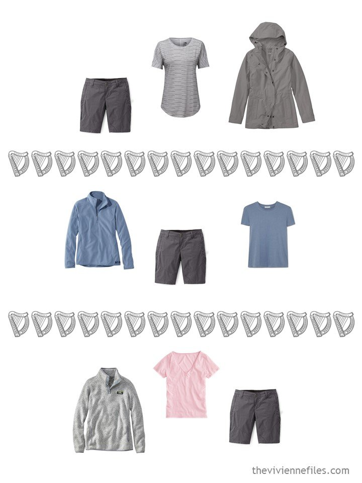 11. 3 ways to wear grey shorts from a travel capsule wardrobe