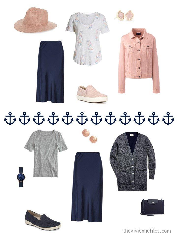12. 2 ways to wear a navy skirt from a travel capsule wardrobe