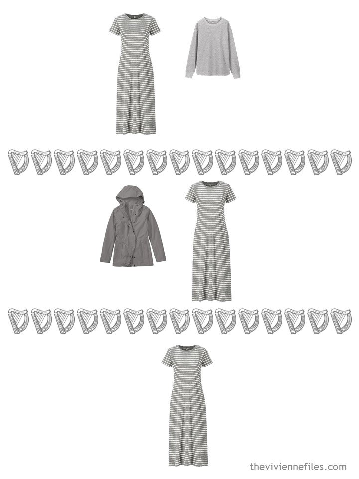 12. 3 ways to wear a grey striped dress from a travel capsule wardrobe