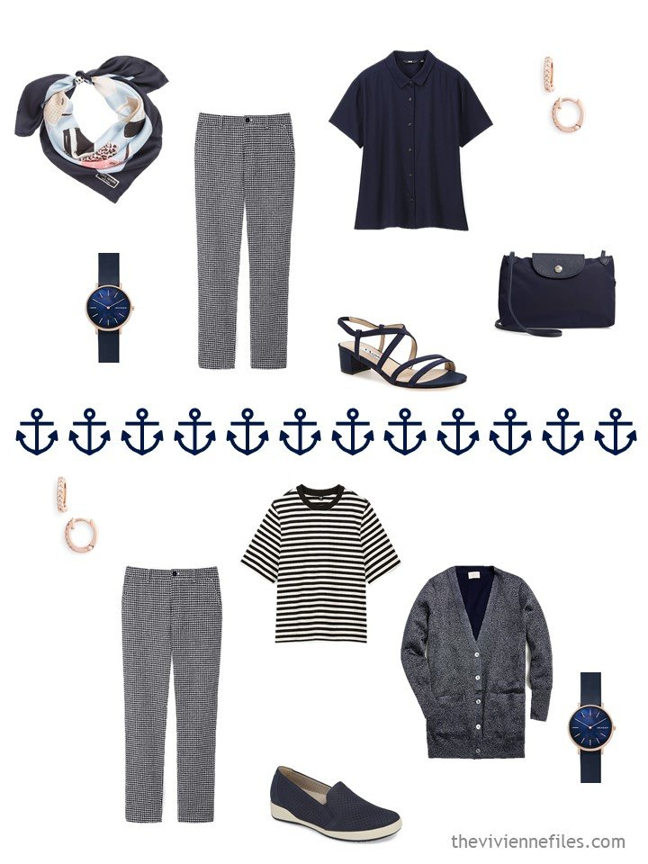 13. 2 ways to wear navy gingham pants from a navy travel capsule wardrobe