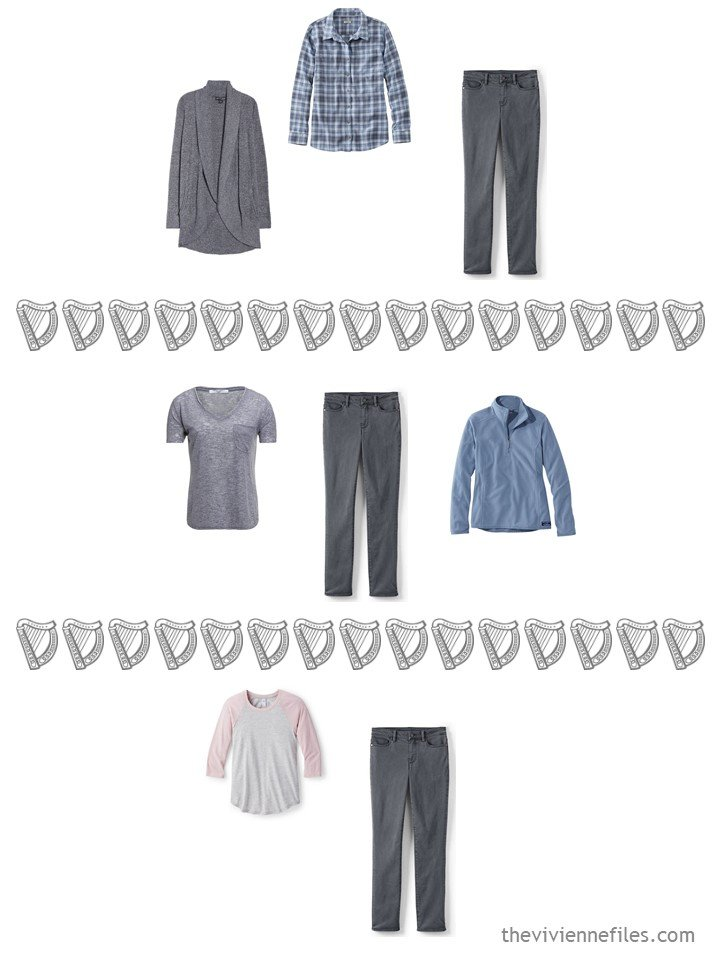 13. 3 ways to wear grey jeans from a travel capsule wardrobe