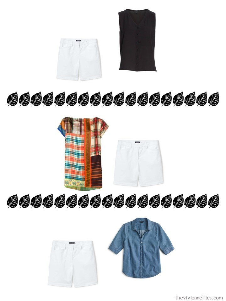 13. 3 ways to wear white shorts from a 4 by 4 Wardrobe