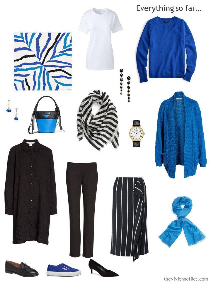 13. black, white and blue capsule wardrobe