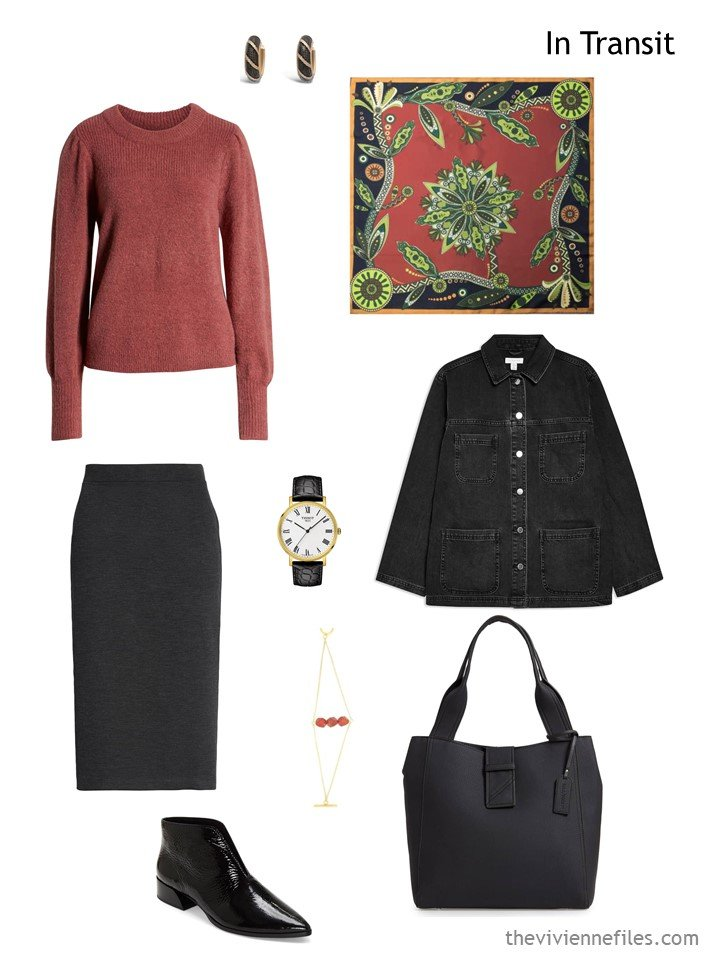 13. travel outfit in black and cinnabar